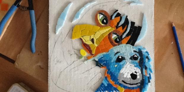 work in progess girl and dog mosaic by Lynn Bridge