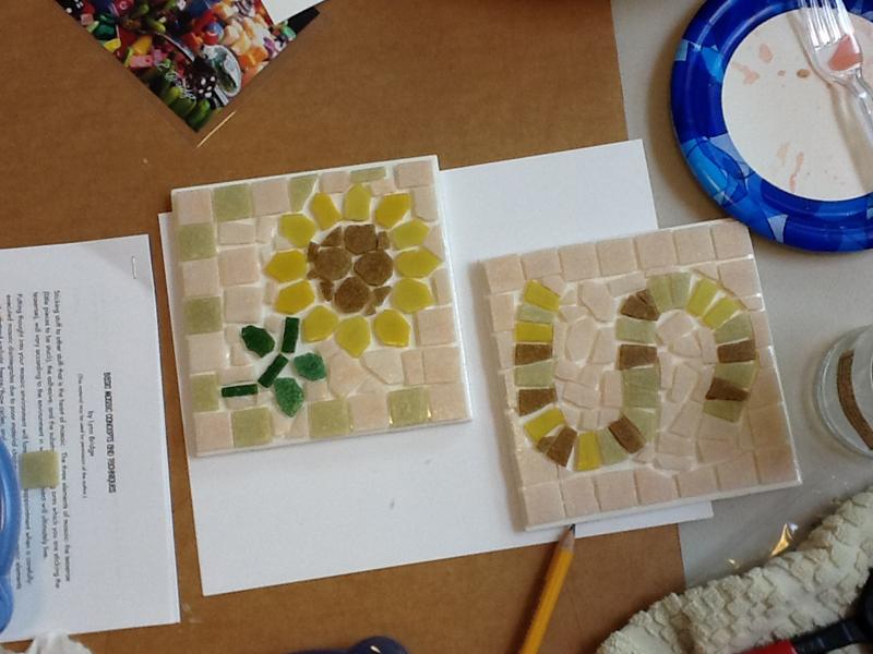 student work from Lynn Bridge's mosaic studio