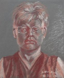 pastel monochrome self-portrait sketch by Lynn Bridge