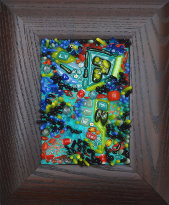 framed mosaic in blues, greens, red by Lynn Bridge