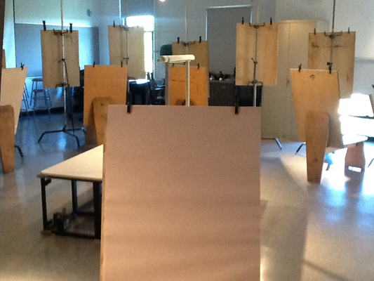Easels at attention