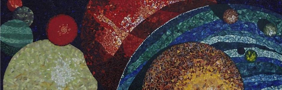 Mosaic art table made by Lynn Bridge
