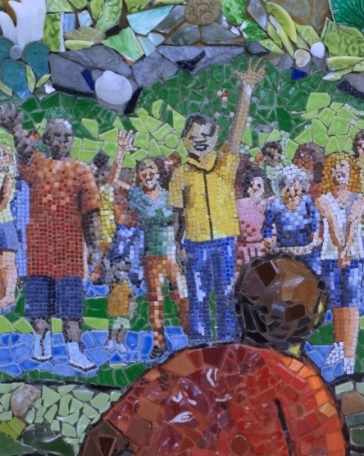 mosaic art wall mural designed by Lynn Bridge and being created by University Presbyterian Church in Austin, Texas, U.S.A.