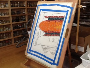 tools used by Lynn Bridge in her mosaic art studio, Glencliff Art Studio in Austin, Texas, U.S.A.