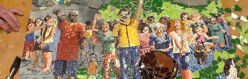 mosaic art mural being created by friends and members of University Presbyterian Church in Austin, Texas, U.S.A.
