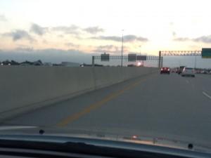 Interstate 10 in Houston at dawn