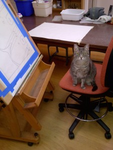 cat sitting in chair in the mosaic studio