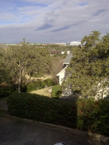 view across sunny hills from my mosaic studio