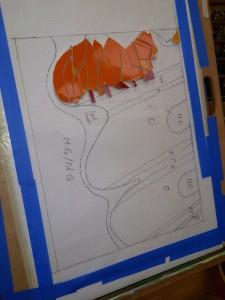 orange tile mosaic work-in-progress by Lynn Bridge of Austin, Texas, U.S.A.