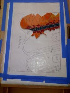 orange mosaic work-in-progress by Lynn Bridge of Austin, Texas, U.S.A.
