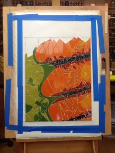 Orange fossil on green background mosaic from Lynn Bridge's mosaic art studio in Austin, Texas, U.S.A.