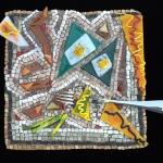 stone and fused glass mosaic plate by Austin Texas mosaic artist, Lynn Bridge
