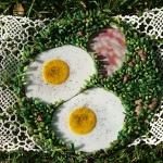 ham and egg-themed mosaic plate by Austin Texas mosaic artist, Lynn Bridge