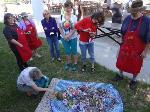 Mosaic artists from SAMA 2014 ready to install panels at Smither Park