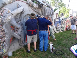 Installing the mosaic marathon pieces from SAMA 2014 at Smither Park