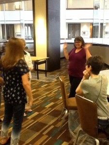 Austin Mosaic Guild members waiting to set up the mosaic marathon room at the SAMA 2014 conference in Houston, Texas