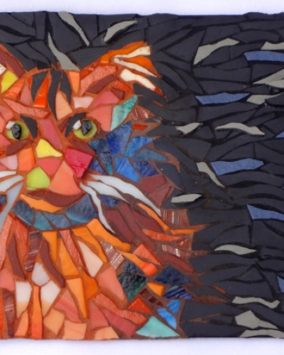 Orange mosaic cat by Lynn Bridge of Glencliff Art Studio in Austin, Texas, U.S.A.