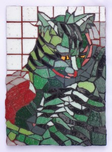 green cat mosaic by Lynn Bridge of Glencliff Art Studio in Austin, Texas, U.S.A.