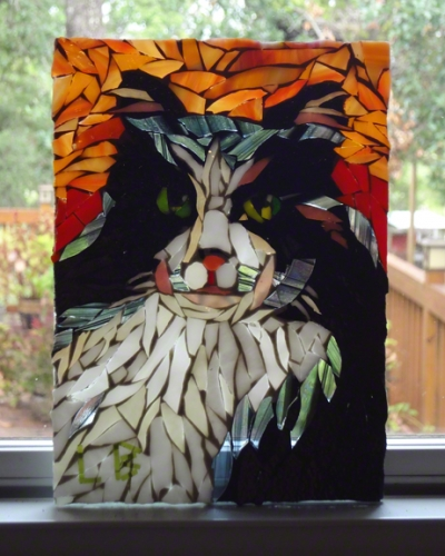 stained glass cat portrait by Lynn Bridge